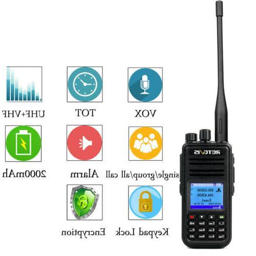 Walkie Talkies DMR Digital/Analog Radio UHF+VHF 5W VOX