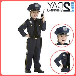 Police Officer Costume Kids Halloween With Walkie Talkie For