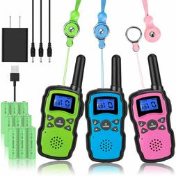 Wishouse Rechargeable Walkie Talkies for Kids 3 Pack with Ch