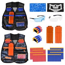 2 Pack Kids Tactical Vest Kit Compatible with Nerf Guns N-St