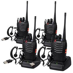 ESYNIC 4 pcs Rechargeable Walkie Talkies Long Range Two Way