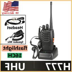 Walkie Talkies Retevis H777 UHF 16CH 2-Way Radio+Earpiece+PT