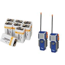Nerf Walkie Talkies with Amazon Basics 9V Batteries Bundle
