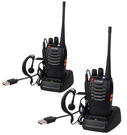 ESYNiC Walkie Talkies 2 pcs Long Range Two-Way Radio USB Cab