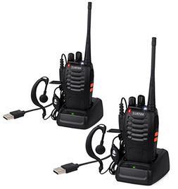 ESYNiC Walkie Talkies 2 pcs Long Range Two-Way Radio USB Cab